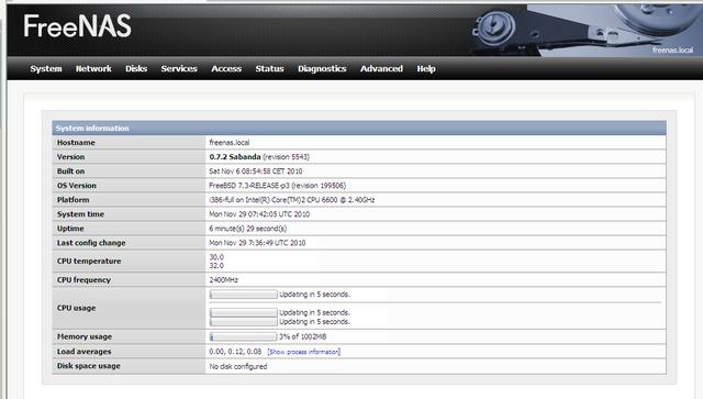 Предварительная настройка сервера FreeNAS