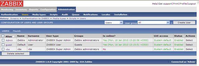 Настройка уведомления в zabbix